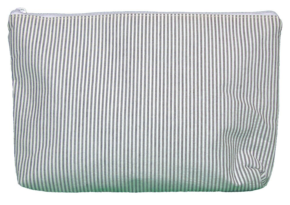 Cosmetic Bag in Seersucker (Gray)