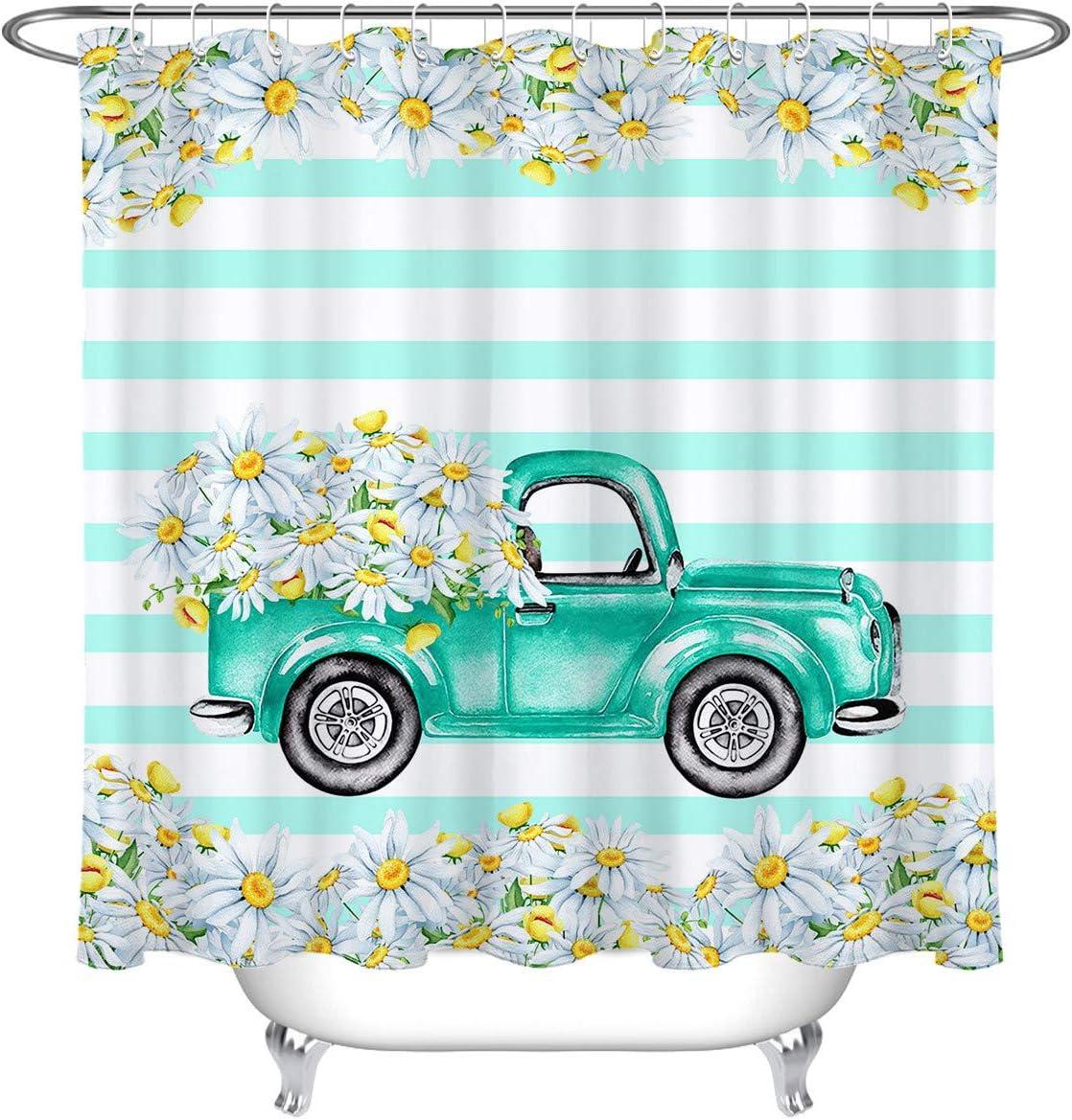 Farm Truck Autum Flowers Live Love Bathroom Shower Curtain Set Waterproof Fabric