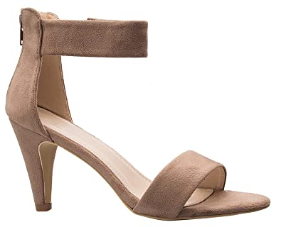 e0d18ac25eb Delicious Women's Ankle Strap Open Peep Toe High Heels | Dress, Wedding,  Party Heeled Sandals Dark Taupe