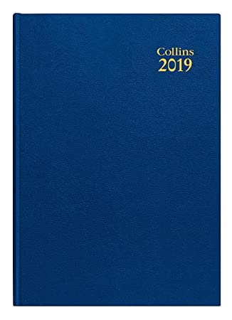 Collins 44 Blue 2019 A4 2019 - Agenda de escritorio con página y día a página, color azul