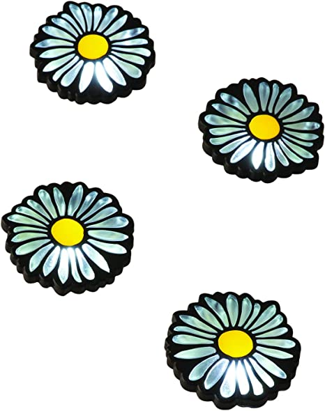 SET OF 6 DAISY STYLE SOLAR POWERED OUTDOOR GARDEN WALKWAY PATH LED LIGHTS NEW!