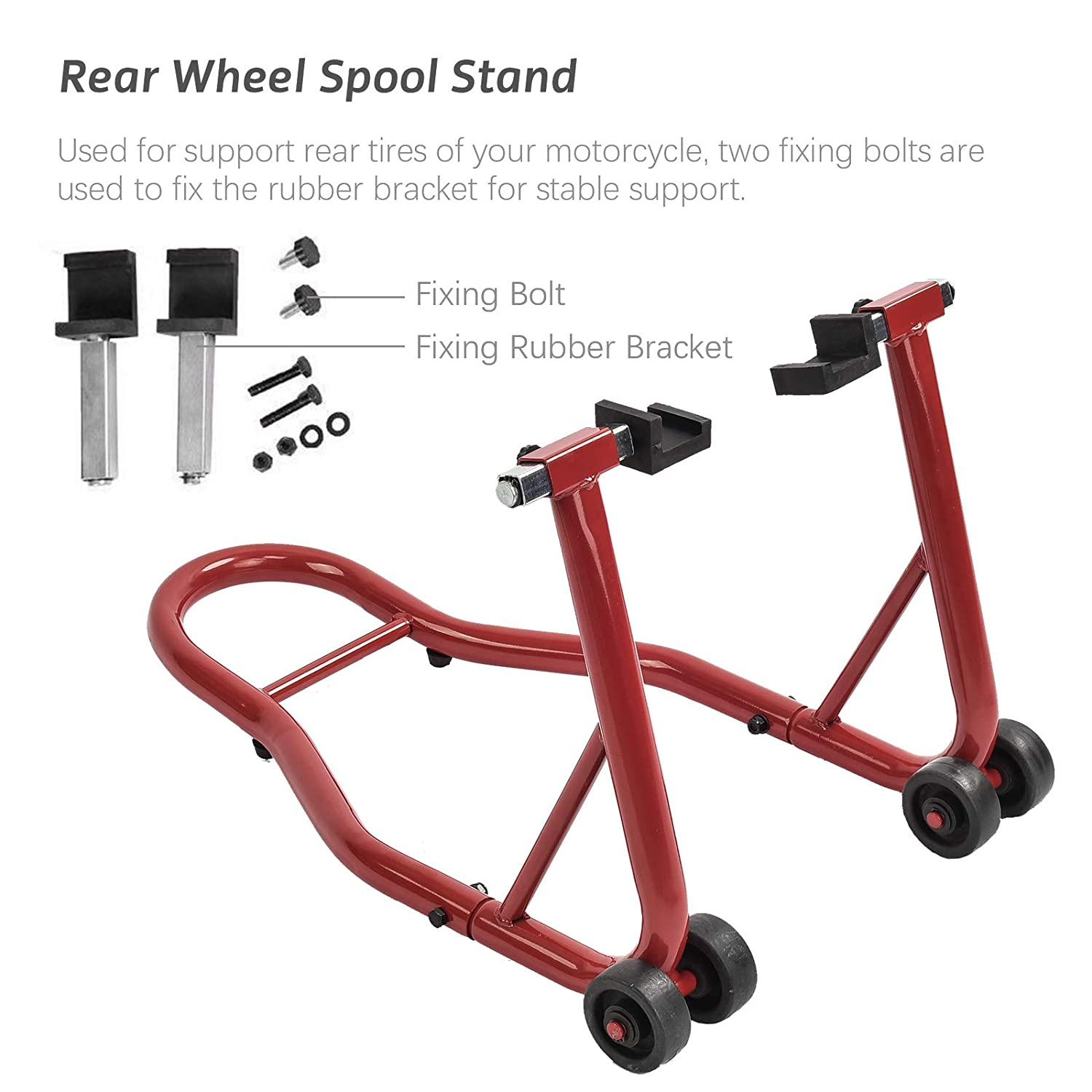 Tammible Motorcycle Stands Front and Rear Replaceable Wheel Paddocks W//Swingarm Fork Spool Lift Combo Kit
