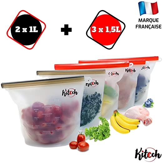 Kitcch Bolsa de Silicona Reutilizable para Guardar Alimentos ...