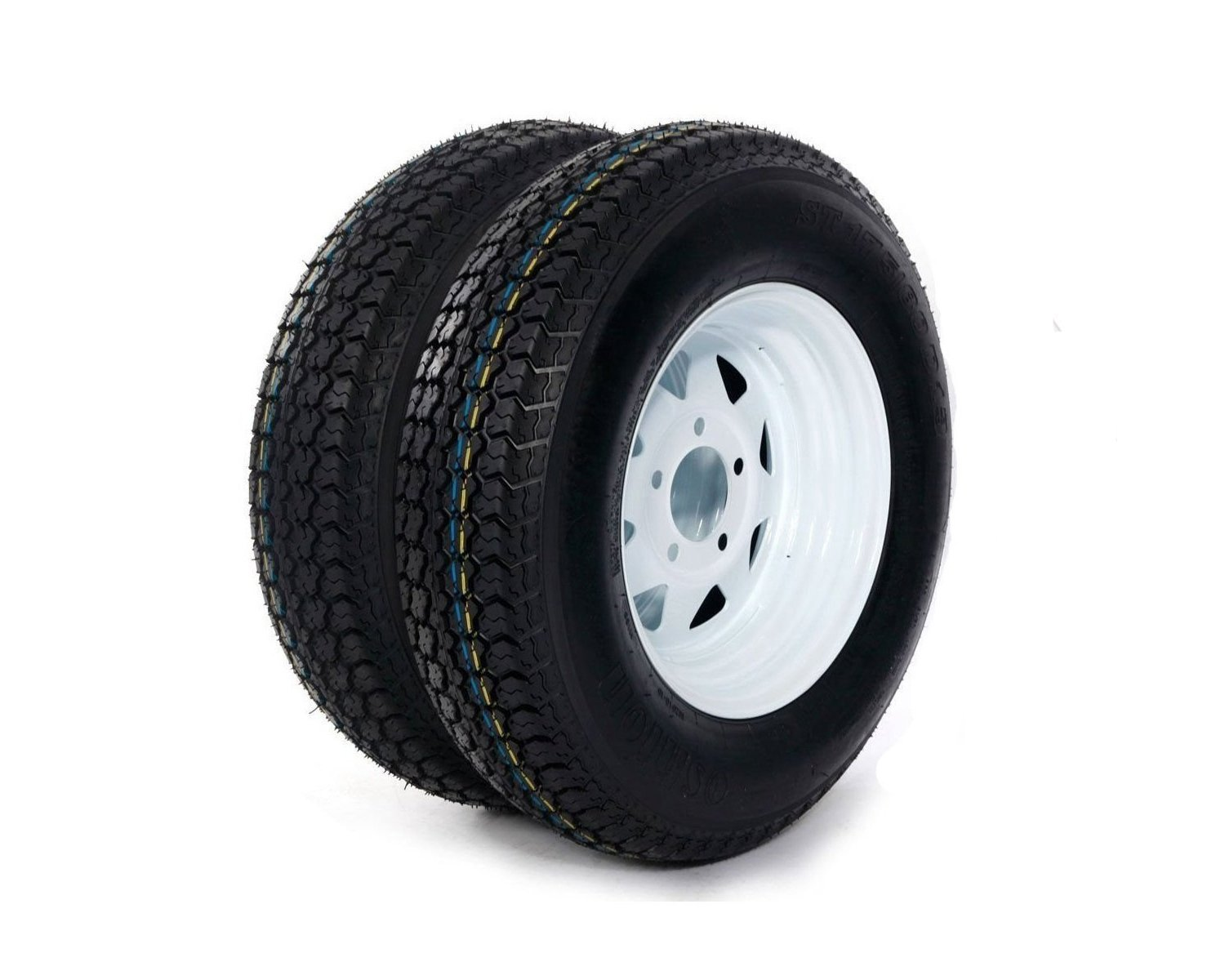 MILLION PARTS 2pc 13 White Spoke Trailer Wheel with Bias ST175/80D13 Tire Mounted 5x4.5 bolt circle
