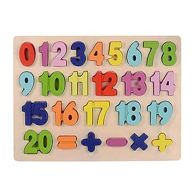 Afunti Bebé Número de Madera Que aprende Jigsaw Puzzle Board Shape Numbers Puzzle Toy para niños 25 Piezas: Juguetes y juegos