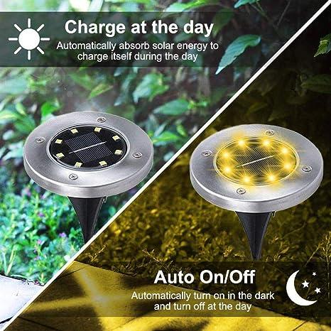 DREAMVAN Outdoor Solar Lawn Light Waterproof Garden Decorative Light 8 LEDs Step Lights