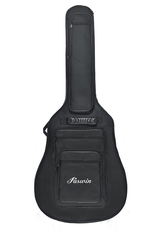 Faswin 41 Inch Acoustic Guitar Padded Gig Bag with 6 Pockets, Pick Sampler and Guitar Strap GuitarPaddedBag-New