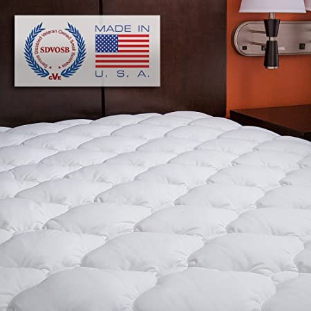 ELuxurySupply Mattress Topper Small Single Bed   Extra Plush And Extra  Thick Quilted Fitted Mattress Pad