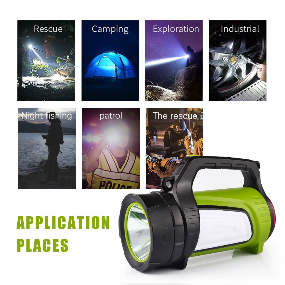 Rechargeable Spotlight Searchlight,Rechargeable Flashlight- 10 Modes Multifunction Super Bright Outdoor Camping Lights with USB Ports to Charge Mobile Devices and Special SOS Modes by Hallomall (Image #4)
