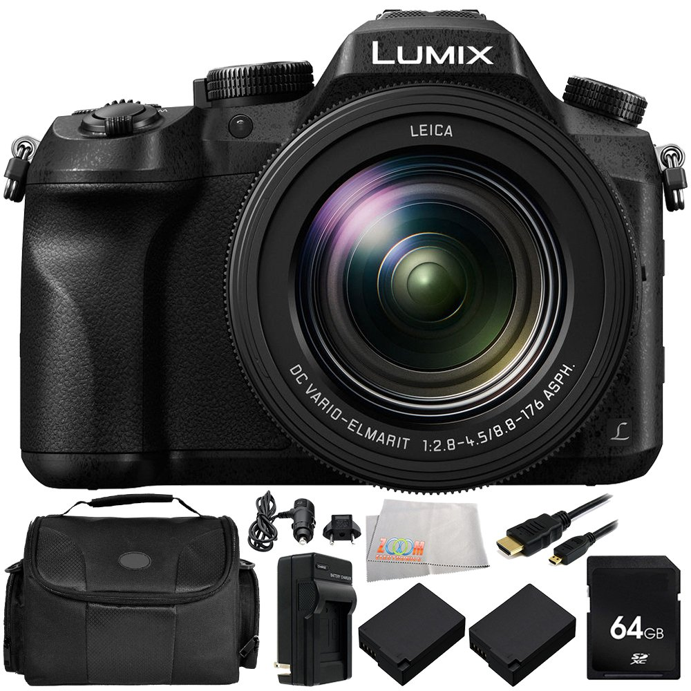 Panasonic Lumix DMC-FZ2500 Digital Camera 8PC Kit - Includes 64GB SD Memory Card + 2 Replacement Batteries + Carrying Case + MORE Centre Drone