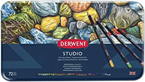 Derwent Studio Colored Pencils, 3.4mm Core, Metal Tin, 72 Count (32201)