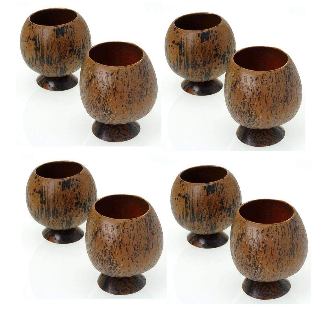 12 Ounce Realistic Look Coconut Shell Drinking Cups (Pack of 8) Luau Party Drink Cups | Tropical Coconut Cocktail Cups