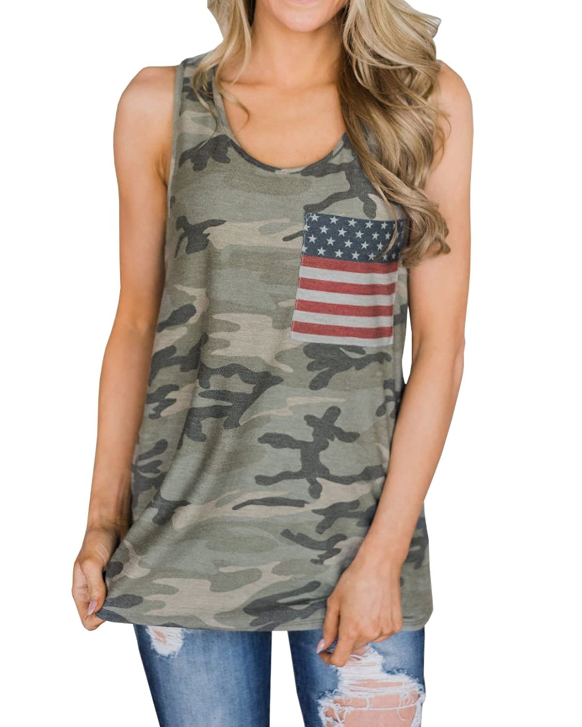 52cd0ed2a7 Soft and Flowy Racerback Sleeveless Long Tunic Style Tank, Casual and Loose  Fit, Stylish Trendy USA Flag Print Camo Tank Tops