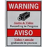 Indoor Bilingual CCTV Video and Audio Surveillance Security Warning / Aviso Sign