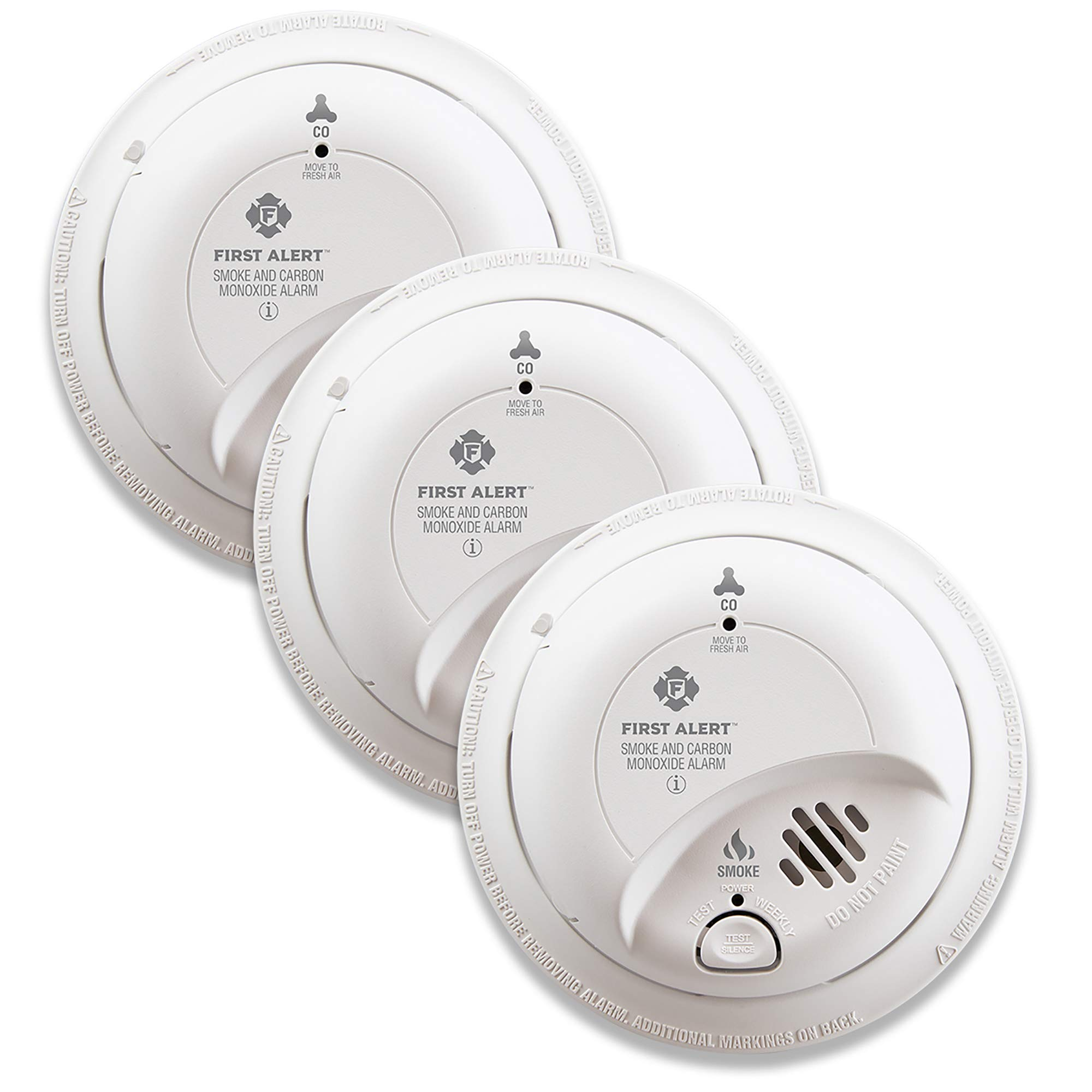 First Alert BRK SC9120B-3 Hardwired Smoke and Carbon Monoxide (CO) Detector with Battery Backup, 3 Pack by First Alert