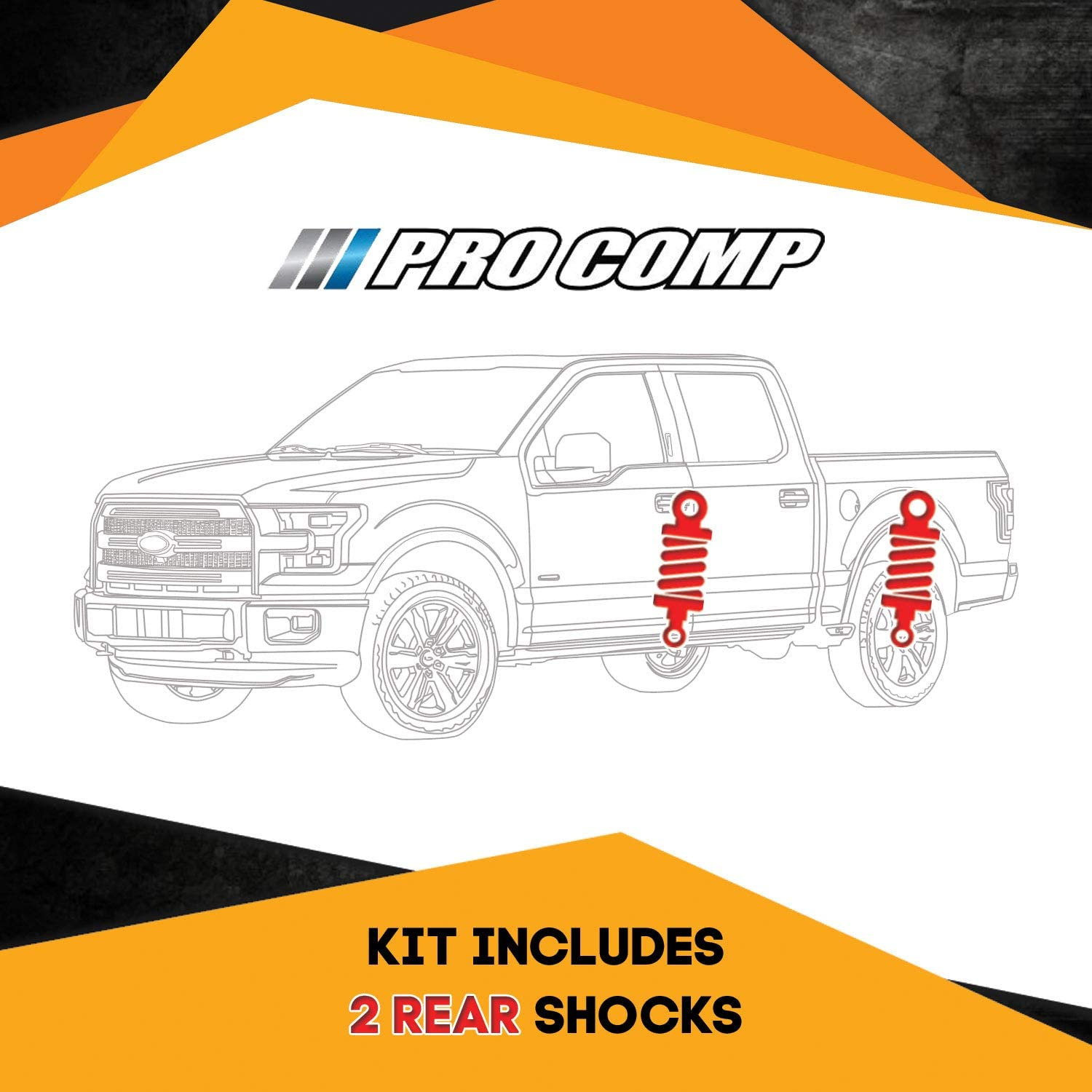 Pro Comp ES9000 2 Rear Shocks Kit for GMC Sierra 73-87 4WD 5-7 inch Lift Ride Twin-tube replacement Gas Charged Shock absorbers