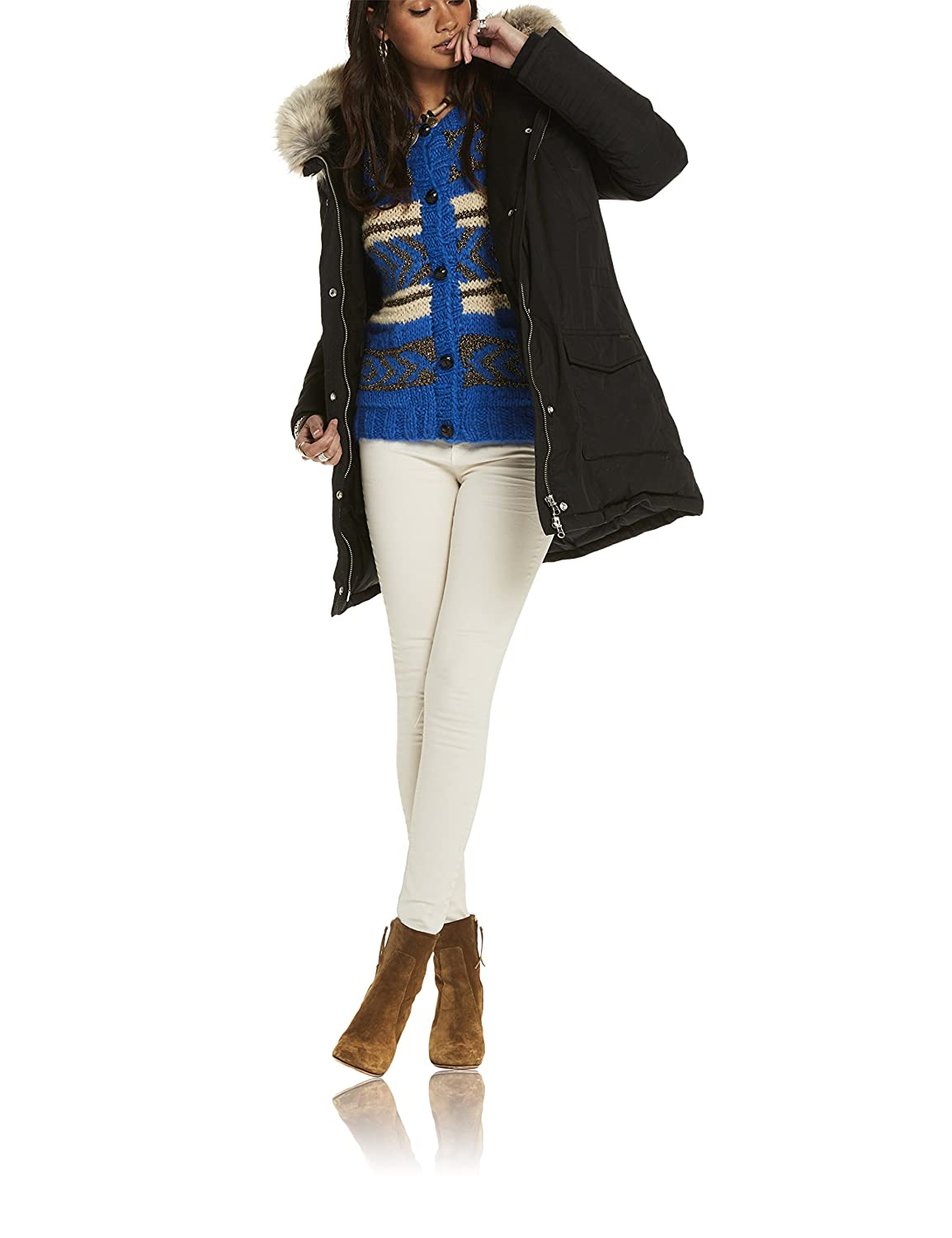 Scotch & Soda Maison Hooded Down Parka with Removable Fur Trim, Chaqueta para Mujer