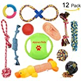 Aipper Dog Puppy Toys 12 Pack, Puppy Chew Toys for Playtime and Teeth Cleaning, IQ Treat Ball Squeak Toys and Dog Frisbee Included, Puppy Teething Toys for Medium To Small Dogs, (Assorted Colors)