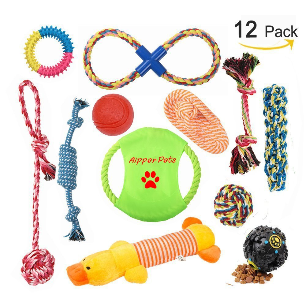 Aipper Dog Puppy Toys 12 Pack, Puppy Chew Toys for Playtime and Teeth Cleaning, IQ Treat Ball Squeak Toys and Dog Flying Disc Included, Puppy Teething Toys for Medium To Small Dogs (Assorted Colors)