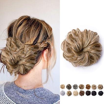 Extension Chignon Capelli Finti Hair Bun Elastico Updo Ponytail Extensions Coda Di Cavallo Posticci Ricci Ciambella 40g Marrone Sabbia Mix Biondo