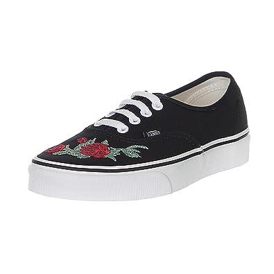 1e39a65b1bd222 Vans Authentic Rose Thorns Black RED True White  Amazon.co.uk  Shoes ...