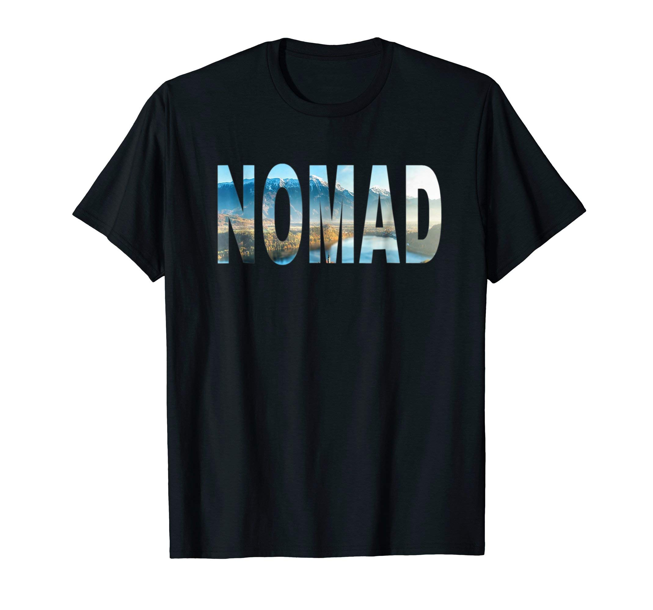Nomad RV Travel T-shirt with Scenic Mountain Overlay