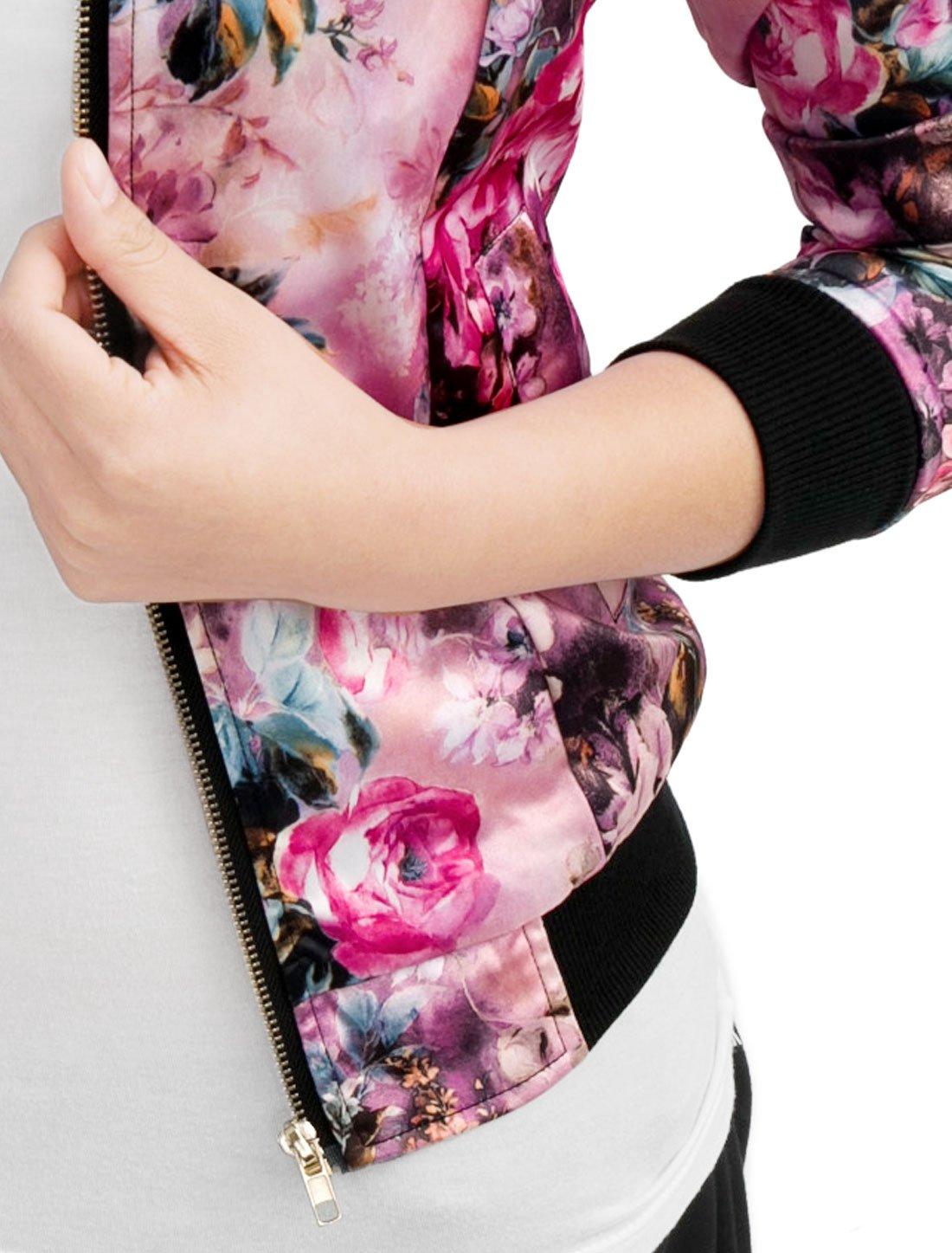 Allegra K Women's Long Sleeve Zip up Floral Print Casual Bomber Jacket Fuchsia S by Allegra K (Image #6)