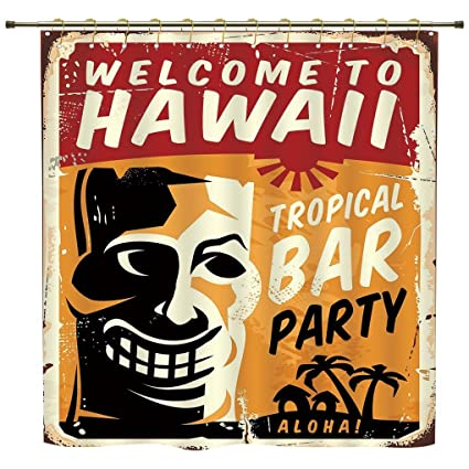 IPrint Shower Curtain,Tiki Bar Decor,Welcome To Hawaii Tropical Bar Party  Retro Style