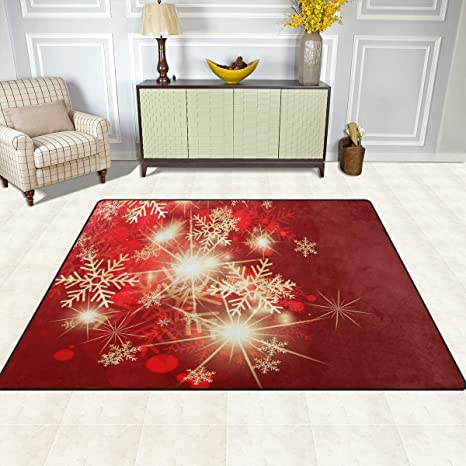 Christmas Area Rugs 5x7 Snowflake Area Rugs For Living Room Bedroom Large Area Rugs Red Christmas Snowflakes Kitchen Dining