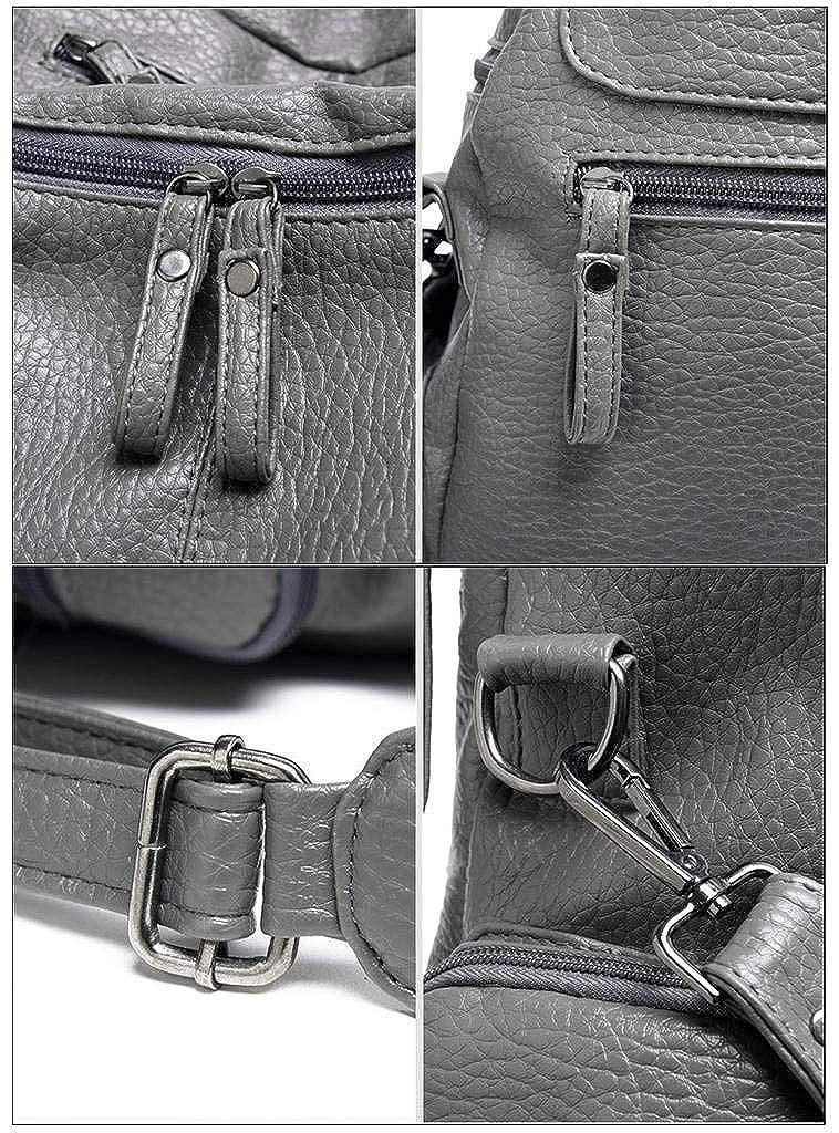 5448277f07ab UTO Women Backpack Purse 3 ways PU Washed Leather Rivet Studded Ladies  Rucksack Shoulder Bag 18000176