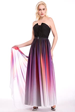 Womens Ombre Formal Evening Gowns Floor Length Chiffon Prom Dresses (2, ombre)