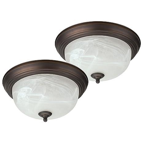 Oil Rubbed Bronze Flush Mount Ceiling Light Fixture Globe 13 Alabaster Glass Shade 2 Pack