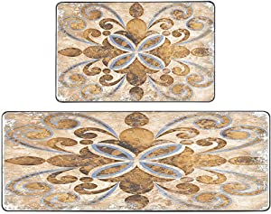 Jesmacti Kitchen Rugs and Mats Rug for Kitchen Sink Area Vintage Italian Tile Pattern Brown Kitchen Rug (17X48+17X24 Inches) Boho Kitchen Rug