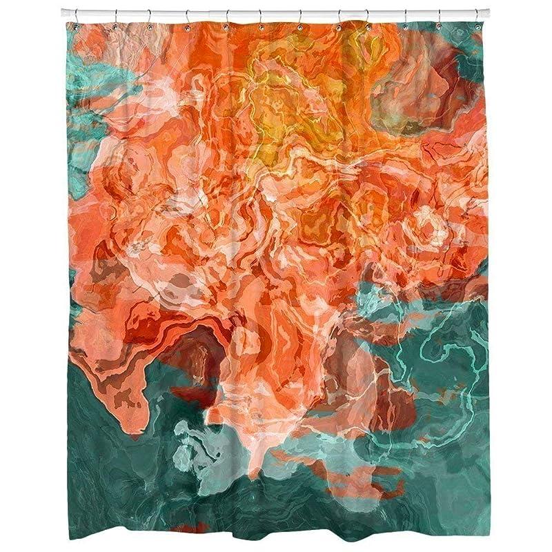 Amazon Com Contemporary Bathroom Decor Aqua And Orange Shower Curtain Coral Reef Handmade
