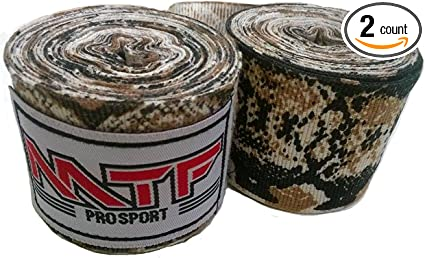 MTF Hand Wraps Muay Thai Boxing MMA K1 Fitness Gear Color Python Brown Size 180 inches Handwraps for Kickboxing Sport