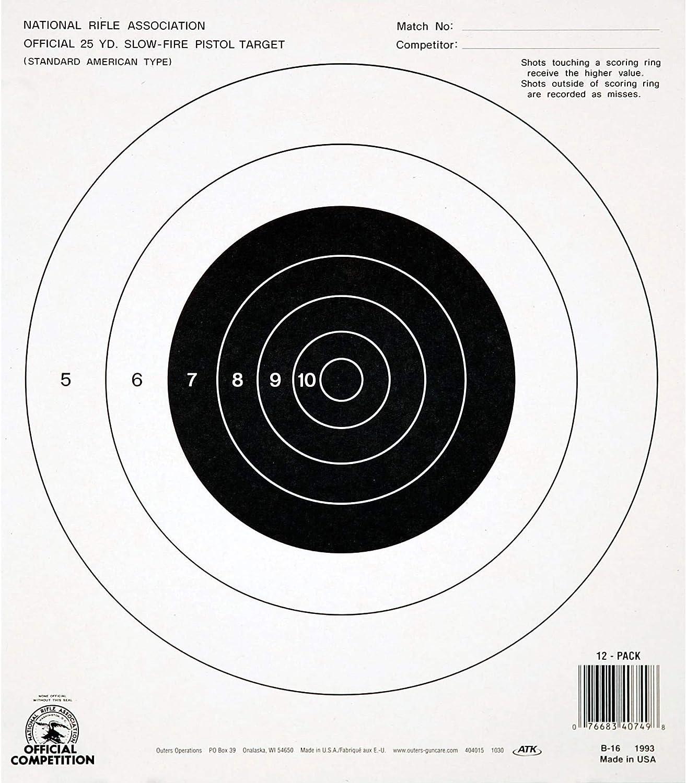 "Champion Traps and Targets, B16 Pistol Slow Fire 25 Yard, (Per 100), Black, 10.5"" x 12"" (40722)"