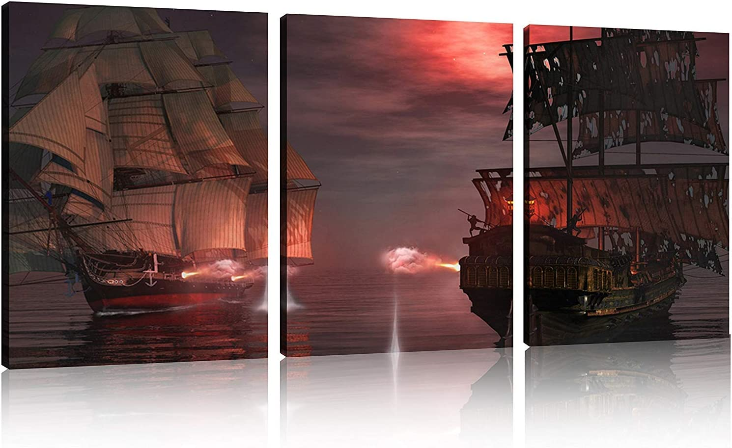 "TutuBeer 3 Panel Pirate Ship Decor Canvas Print, Ready to Hang 12""x16"" Pirate Canvas Pirate Canvas Art Pirate Pictures for Home Decor Sailboat Wall Art Seascape The Pictures for Home Decor Decoration"