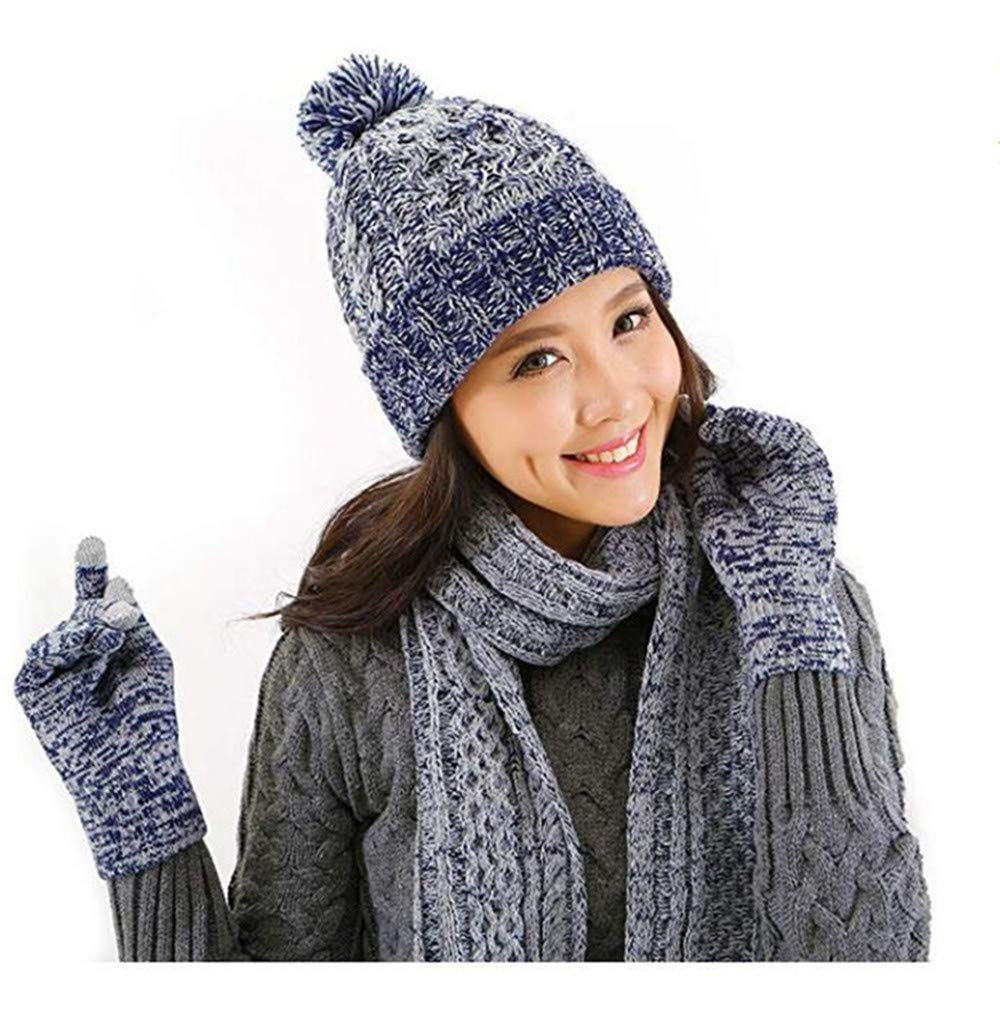 Xugq66 Womens Winter Knit Set Scarf, Gloves & Beanie