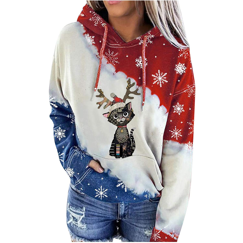 Amazon Com Jpoqw Womens Sweatshirt Pockets Long Sleeves Christmas Elk Print Casual Fashion Tops Pullover Blouses Beauty