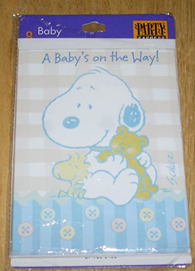 Peanuts Hallmark Baby Snoopy Baby Shower Invitation