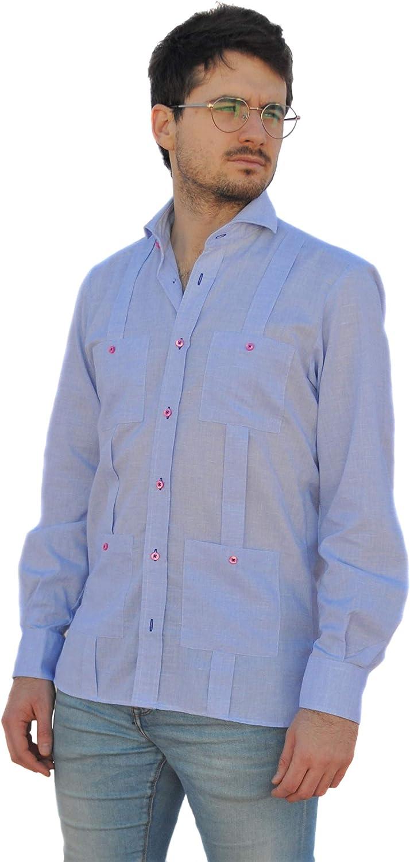 Camisa Guayabera Caballero Celeste (3XL): Amazon.es: Ropa y ...