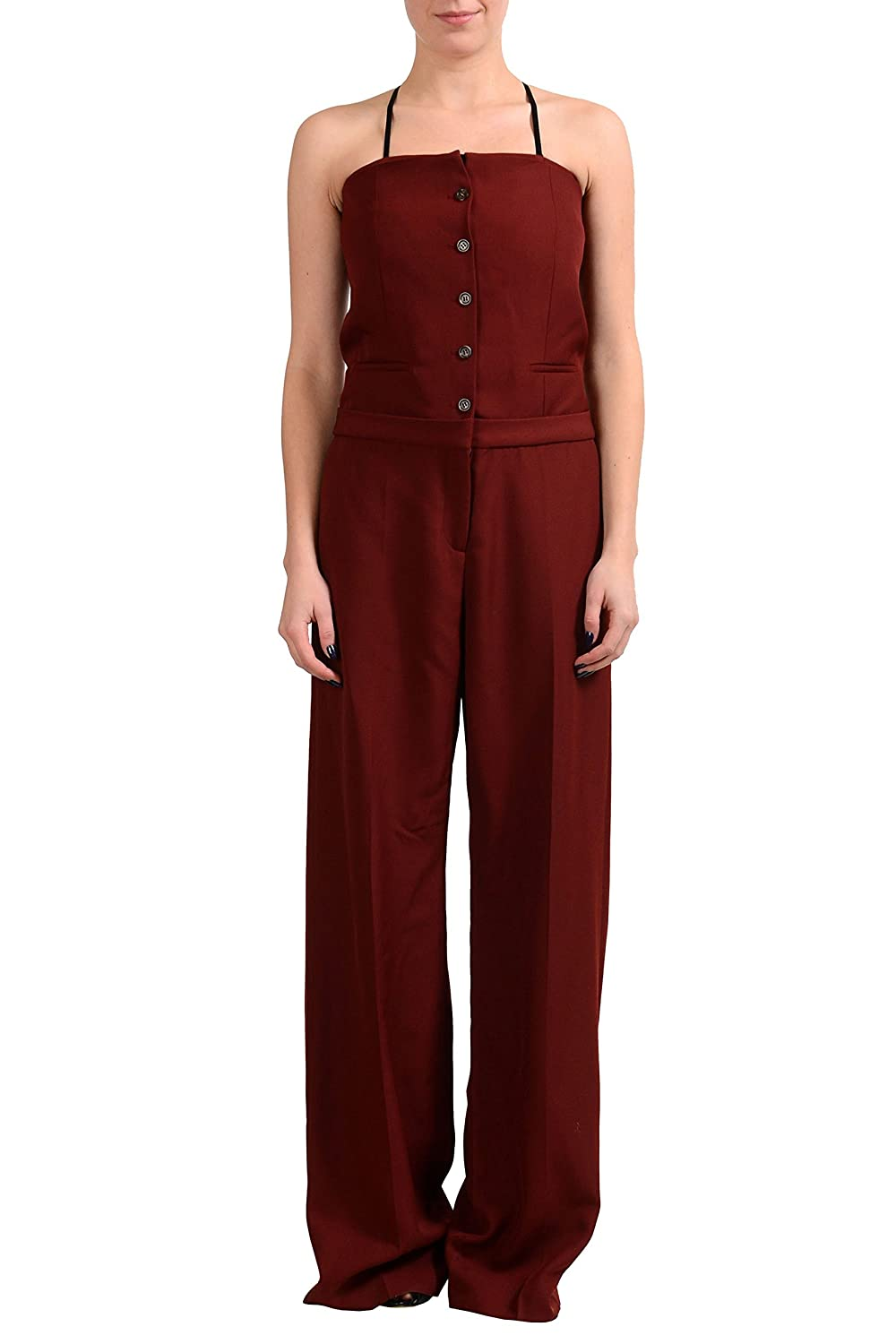 Maison Margiela 1 100% Wool Burgundy Shoulders-Off Women's Jumpsuit US S IT 40