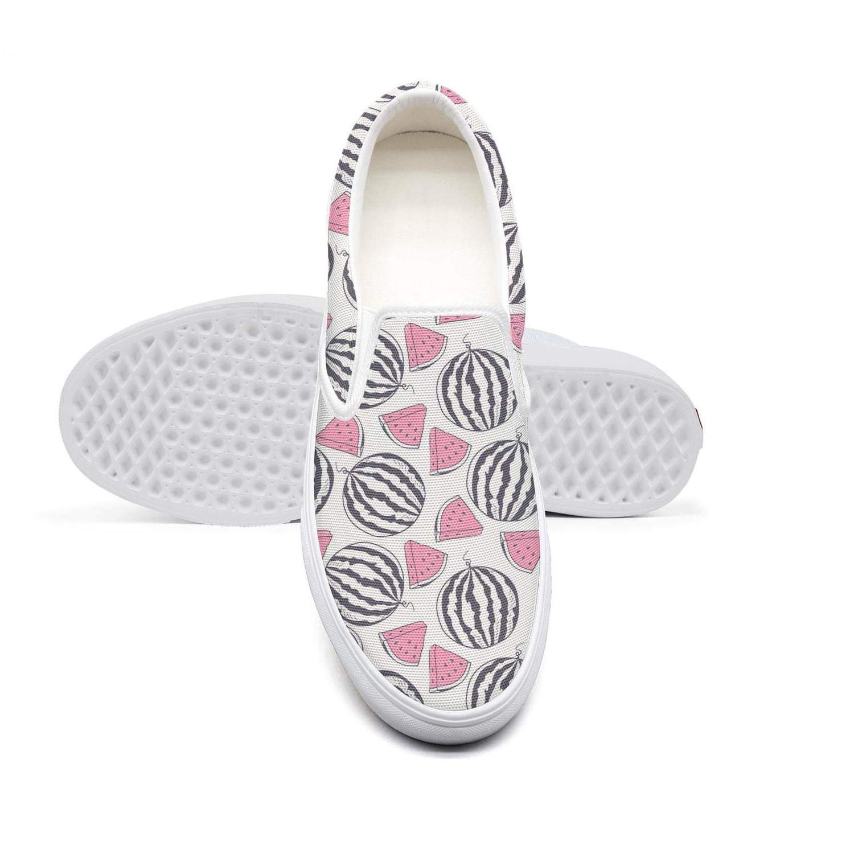 Womens Slip-on Loafer Tropical Watermelon Fruit Black Casual Sneaker Flat Walking Shoes Canvas