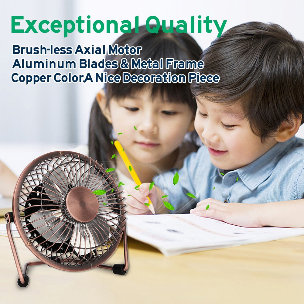 GLAMOURIC Small USB Desk Fan Mini Metal Personal Fan Retro Design Electric Portable Air Circulator Angle Adjustable Quiet Operation for Table Desktop Home Office Travel (Copper) by GLAMOURIC (Image #3)