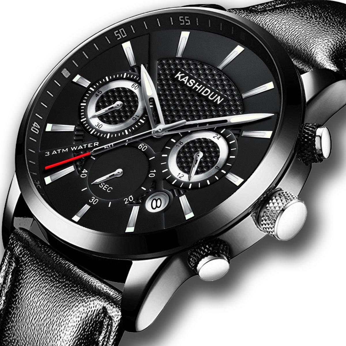 KASHIDUN Men's Watches Sports Military Army Quartz Wristwatch Chronograph Calendar Date Leather Strap Black Color by KASHIDUN