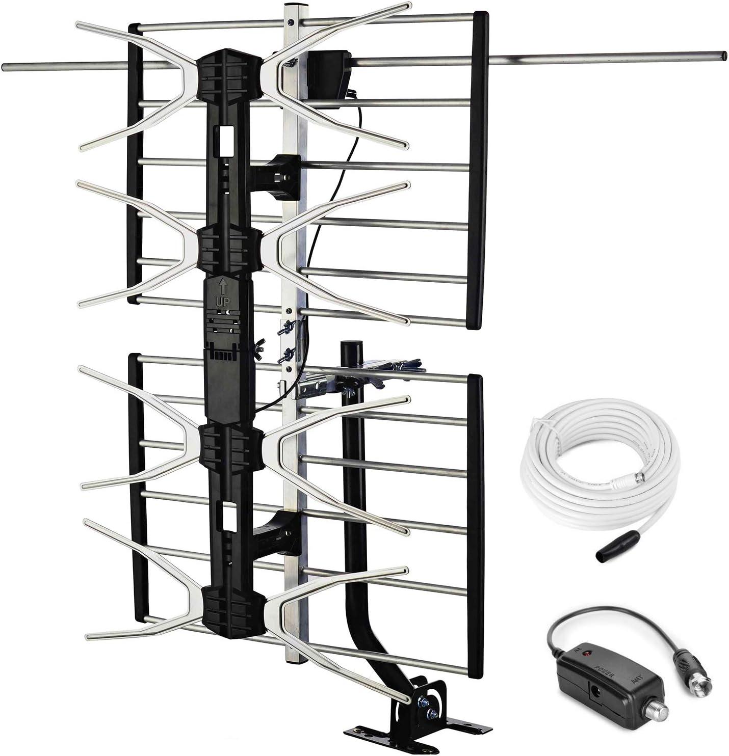 PBD antena de TV digital HD al aire libre con amplificador de alta ganancia de 150 millas de largo alcance para UHF/VHF, poste de montaje, cable ...