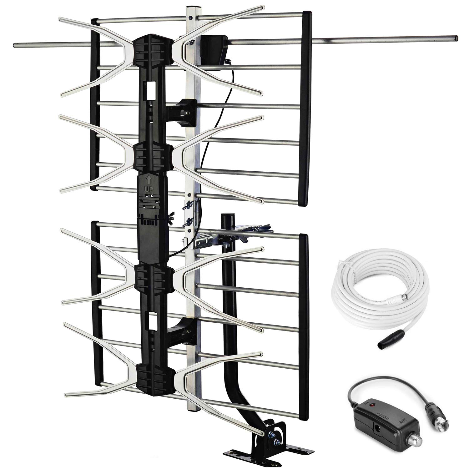 pingbingding Outdoor Digital HD TV Antenna with High Gain Amplifier 150 Mile Long Range for UHF/VHF, Mounting Pole, 40FT RG6 Coaxial Cable, Easy Installation by pingbingding