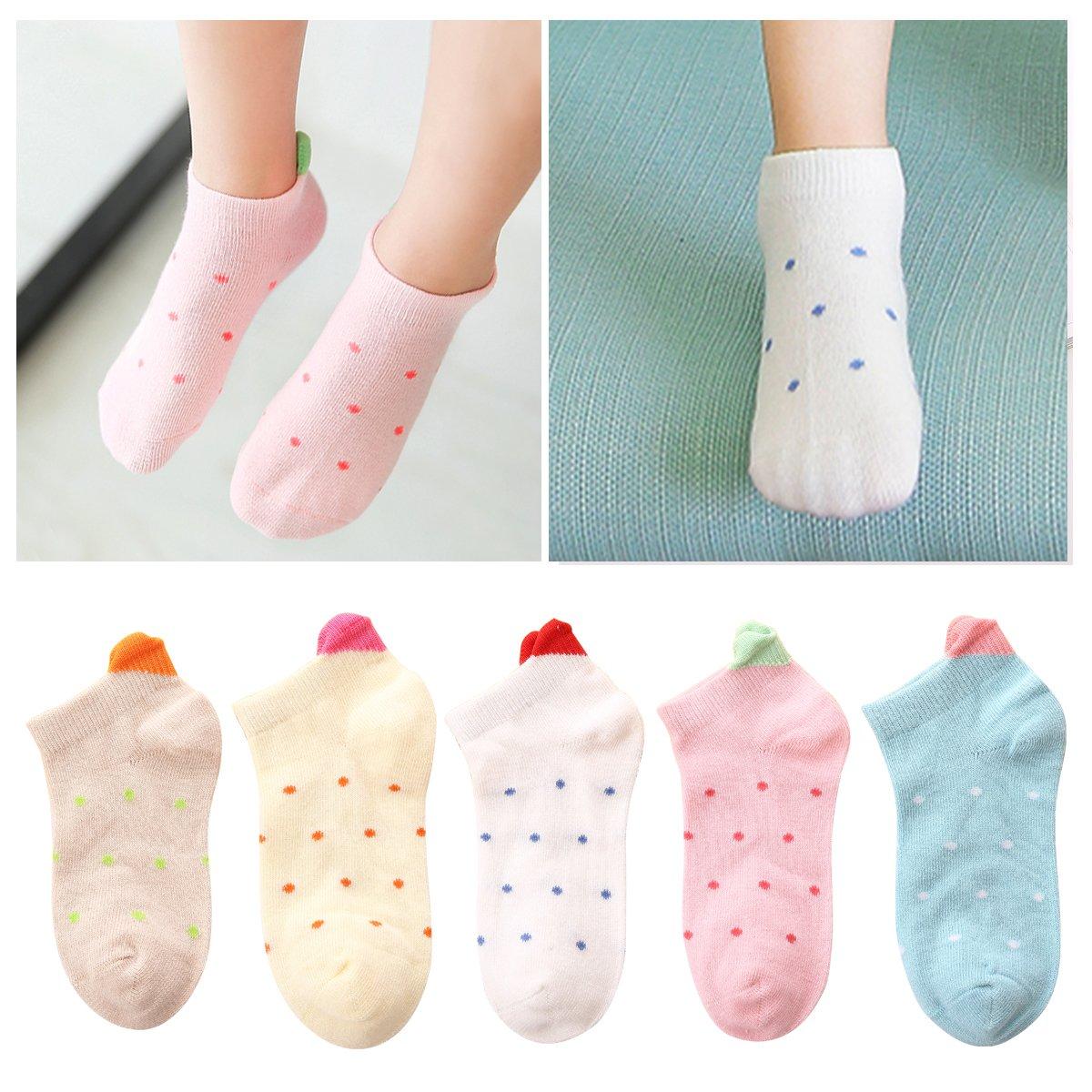 Kidstree Fashion Girls Socks Cotton Thin Toddler Crew Sock 5 Pairs Love Small(2-4)