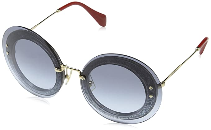7b9671b796 Image Unavailable. Image not available for. Color  Miu Miu MU10RS UES4R2  Gold Blue Glitter Reveal Round Sunglasses ...