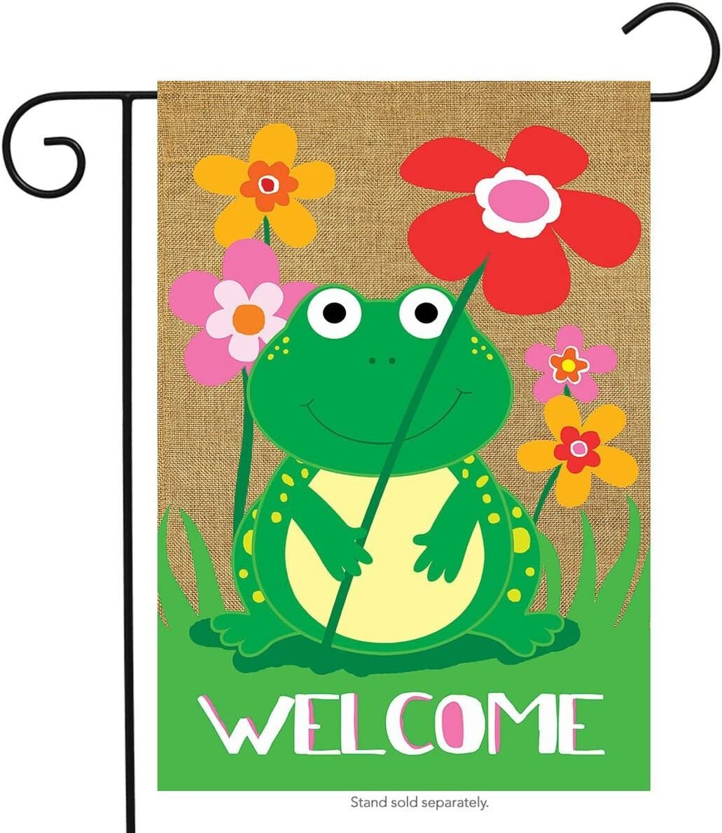 "Briarwood Lane Welcome Frog Burlap Spring Garden Flag Welcome Flowers 12.5""x18"""